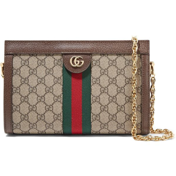 Ophidia Textured Leather-trimmed Printed Coated-canvas Pouch - Brown Gucci Jj6SIyWb
