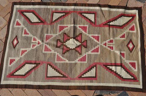 Antique Navajo Weaving Rug Blanket Storm Pattern Ganado Navaho Dine