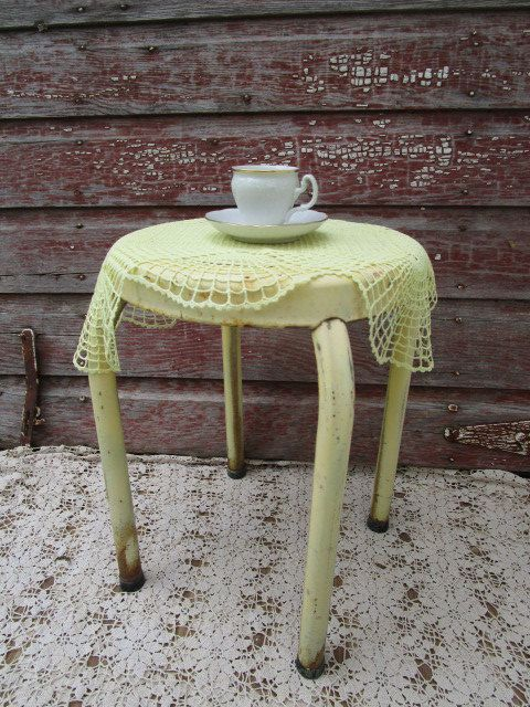 Vintage Industrial Utility Milking Stool Metal Shabby Rusty Old Yellow paint by Holliezhobbiez on Etsy