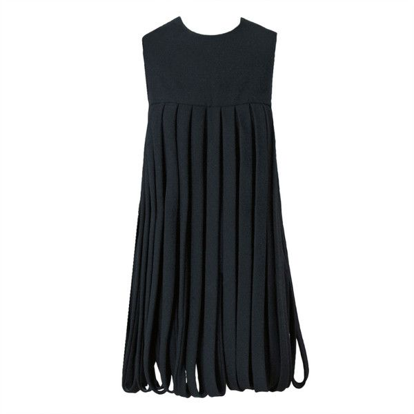 Preowned 1967 Pierre Cardin Documented Black Wool Space-Age Mod... (12.725 RON) ❤ liked on Polyvore featuring dresses, black, zipper back dress, woolen dress, wool dresses, pre owned dresses and fringe cocktail dress