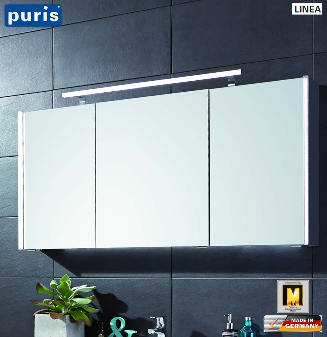 Puris Linea Spiegelschrank 130 Cm Mit Seitlichen Led Profilen S2a431379 Spiegelschrank Led Profil Badspiegelschrank