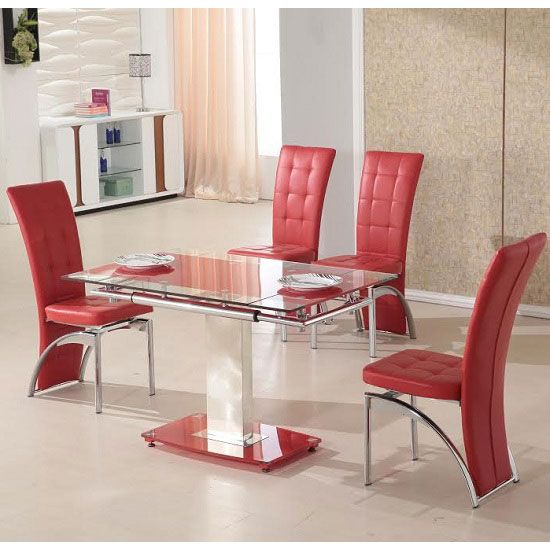 Pico Extending Red Dining Table And 4 Chairs & Red Dining Set - Dining room ideas