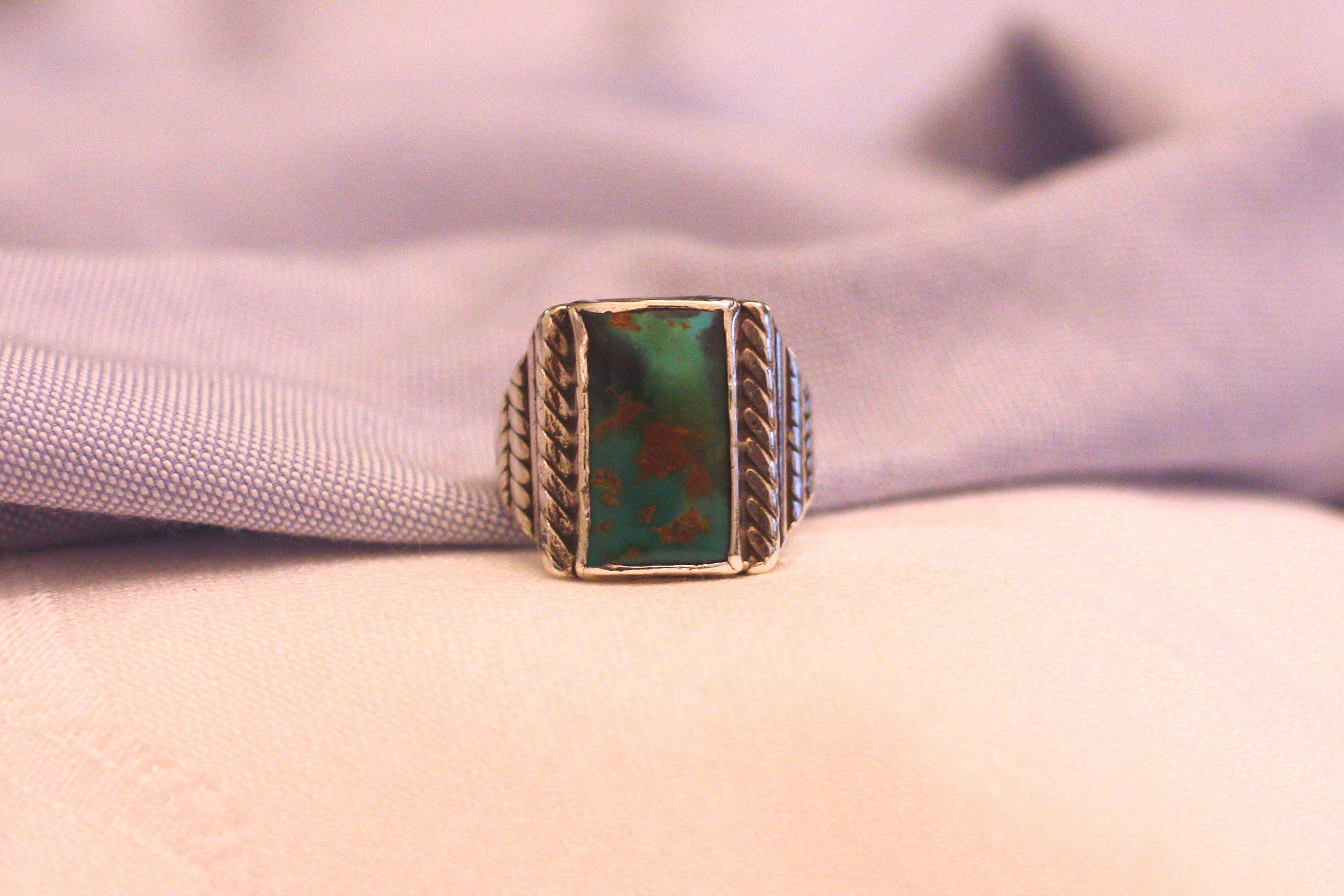 23bd61117381af FREE SHIPPING #etsy shop: Mens Ring Turquoise Large Rectangular Single  Stone Green Turquoise Shades