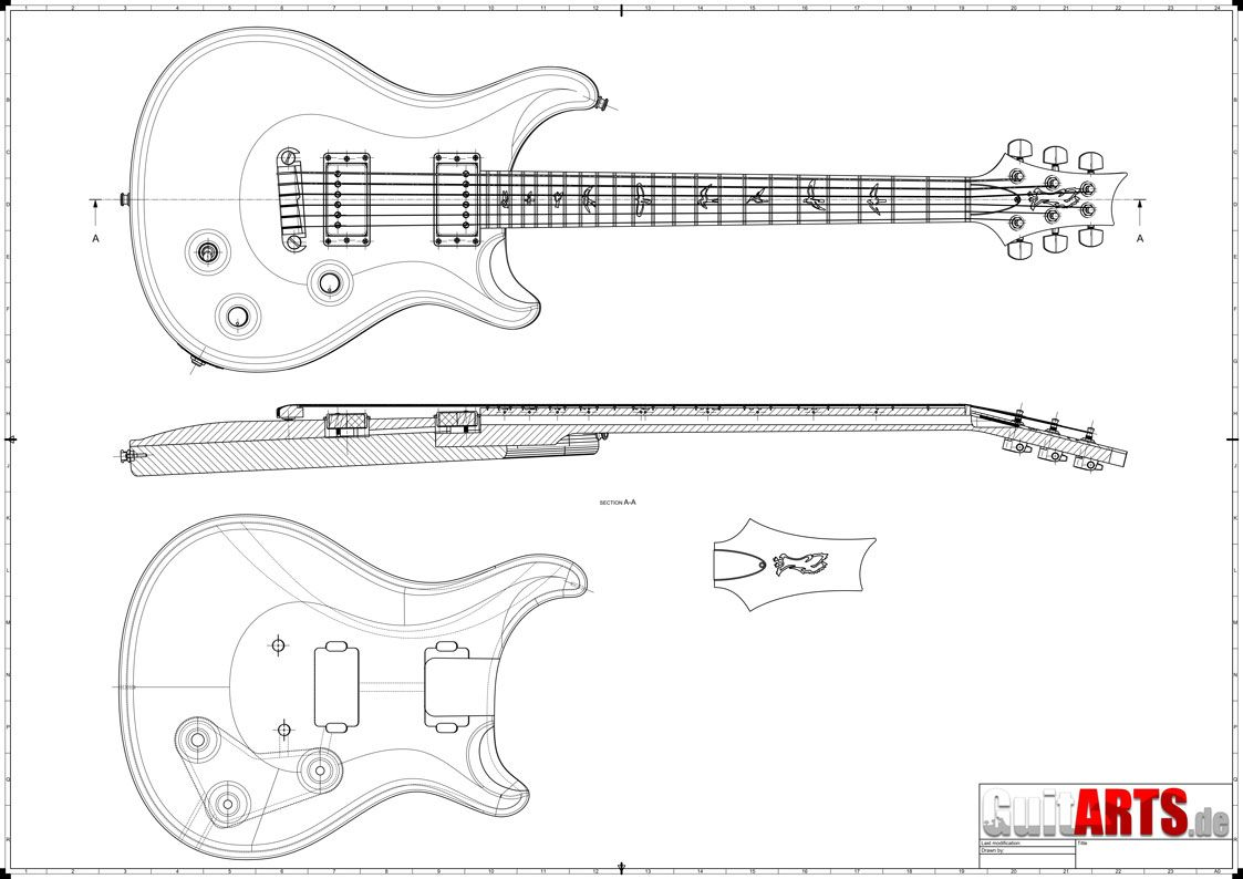 preview of a prs style guitar building plan  [ 1123 x 794 Pixel ]