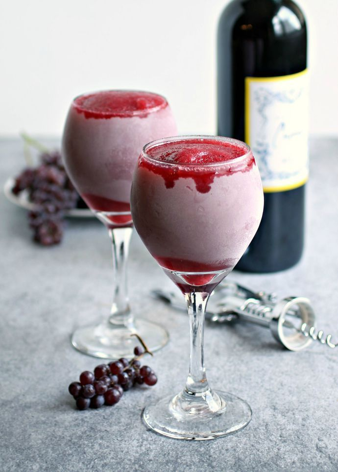 Recipe for a frozen red wine and strawberry cocktail.