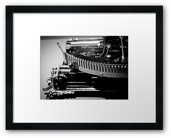 """Writing Machine #1 B/W"" Framed Print #decoration #gifts #fineart #exclusive  Size: 28,2cms x 20,3cms Price: €70,93"