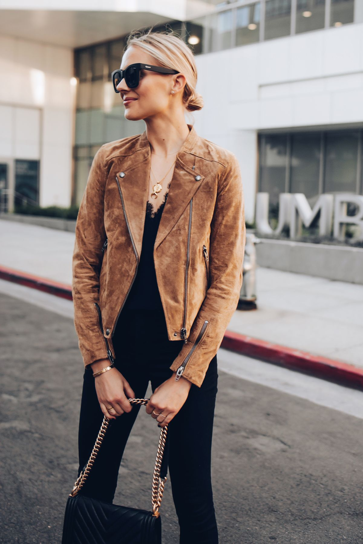94760cc6864 Blonde Woman Wearing Blanknyc Tan Suede Moto Jacket Black Lace Cami Black  Skinny Jeans Outfit Fashion Jackson San Diego Fashion Blogger Street Style