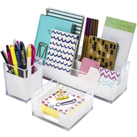 Sorbus Acrylic Desk Organizers 3 Piece Set Includes Medium Tray Holder Note Pad Holder And Cup Holder Desk Accessories Organizer Walmart Com Desk Organizer Set Desk Accessories Office Modern Desk Accessories