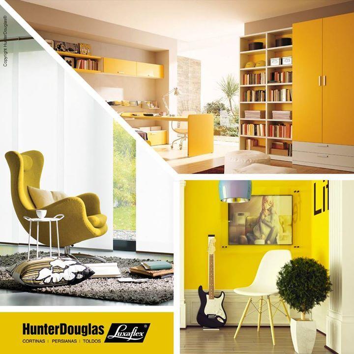 Tons neutros combinam perfeitamente com cores quentes. Inspire-se: coloque a cortina Painel em sua janela e aposte no amarelo em móveis e objetos para compor a decoração dos ambientes!