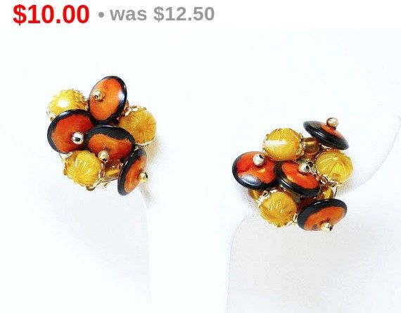 Vintage Beaded Clip-On Earrings - Signed Hong Kong - Orange Black and Yellow Modernist