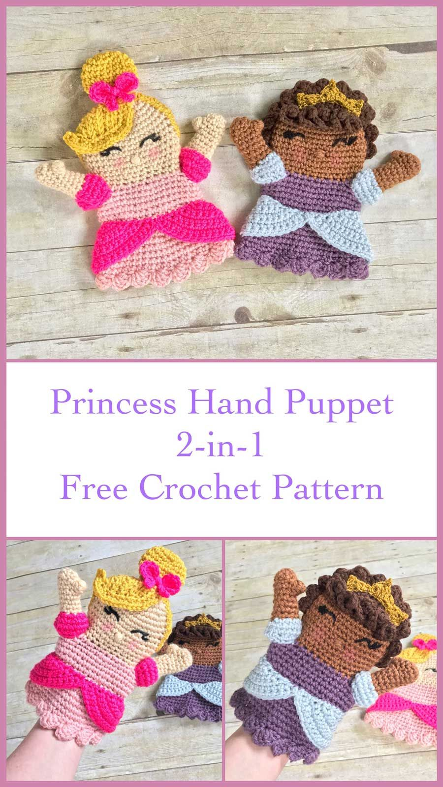 Princess Hand Puppet, Free Crochet Pattern Make this adorable ...