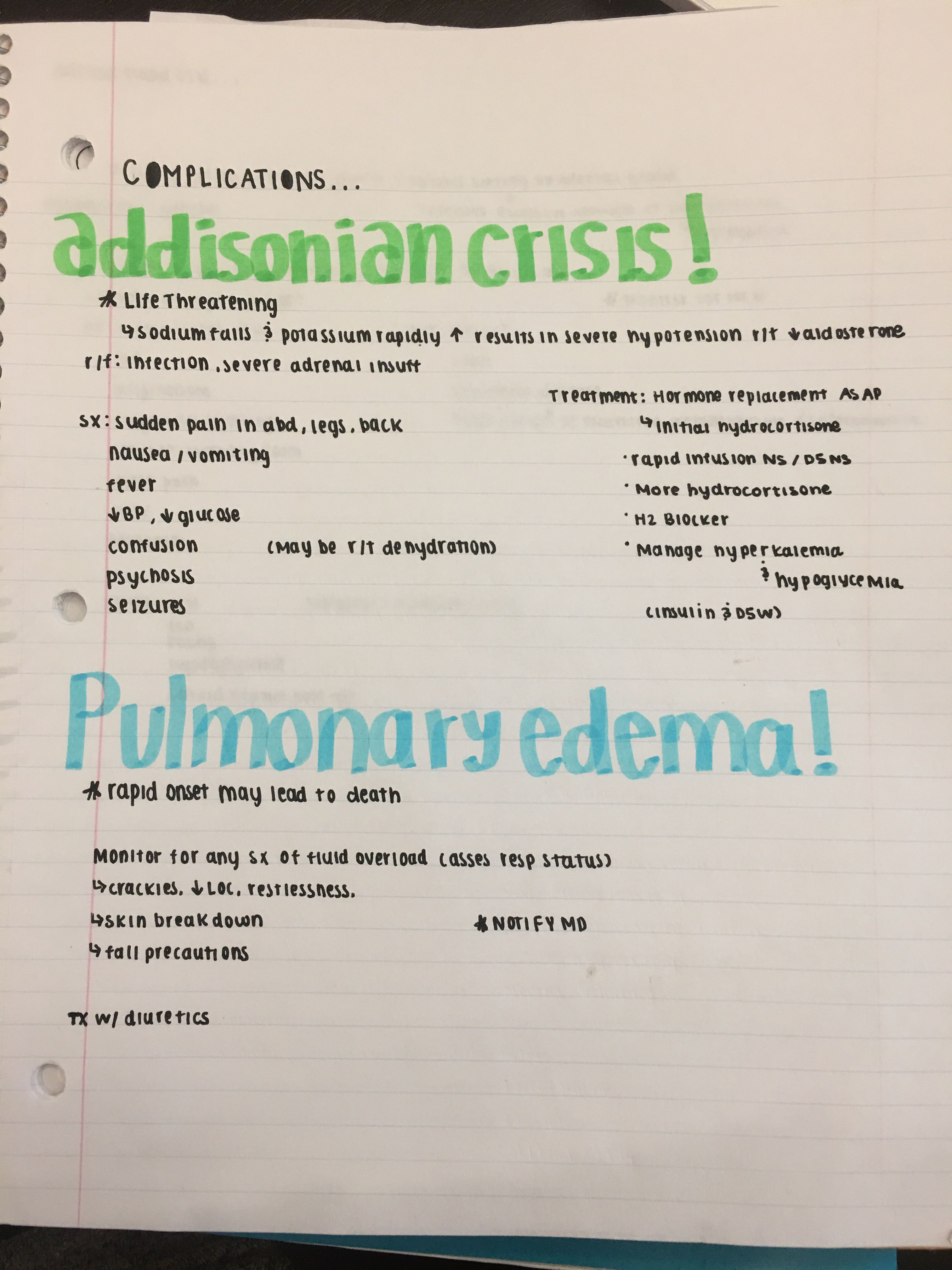 Complications of add/ cush Nursing school notes, Nursing
