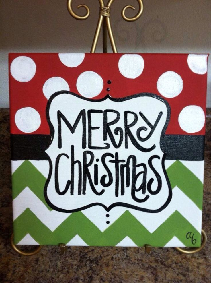 12x12 christmas canvases by artbyab on etsy easy enough for Easy christmas paintings on canvas