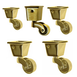 Superieur Square Cup Casters   Brass Cup Casters   Paxton Hardware