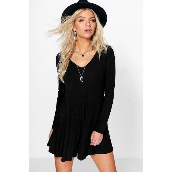 3928527875 Boohoo Ava Swing Style Long Sleeve Playsuit ( 20) ❤ liked on Polyvore  featuring jumpsuits