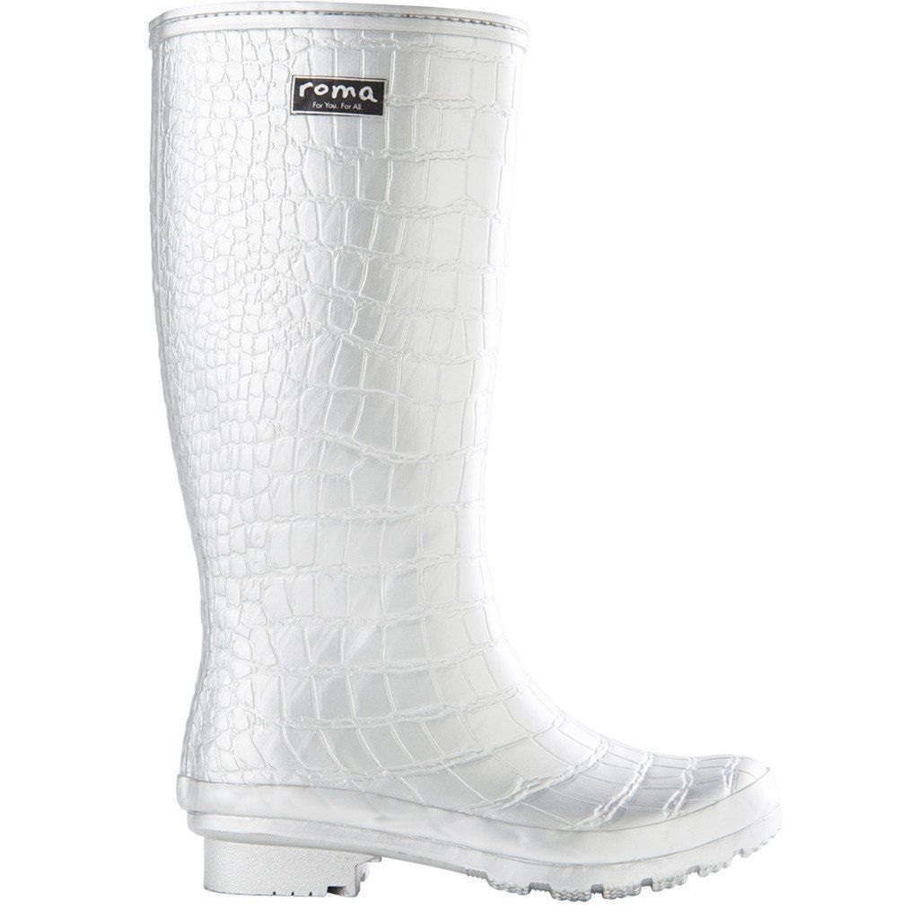 The Roma Classic Rain Boot In The Silver Croc Emboss Is