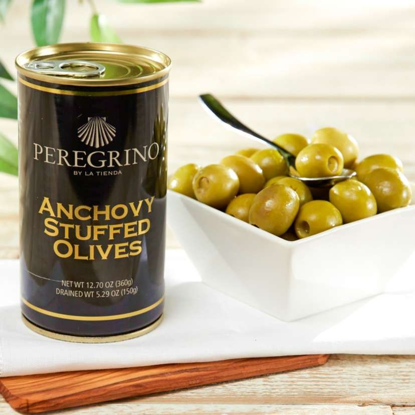 2 Tins of Anchovy Stuffed Olives by Peregrino - 'Extra' Quality | Anchovies. Olive. Spanish food