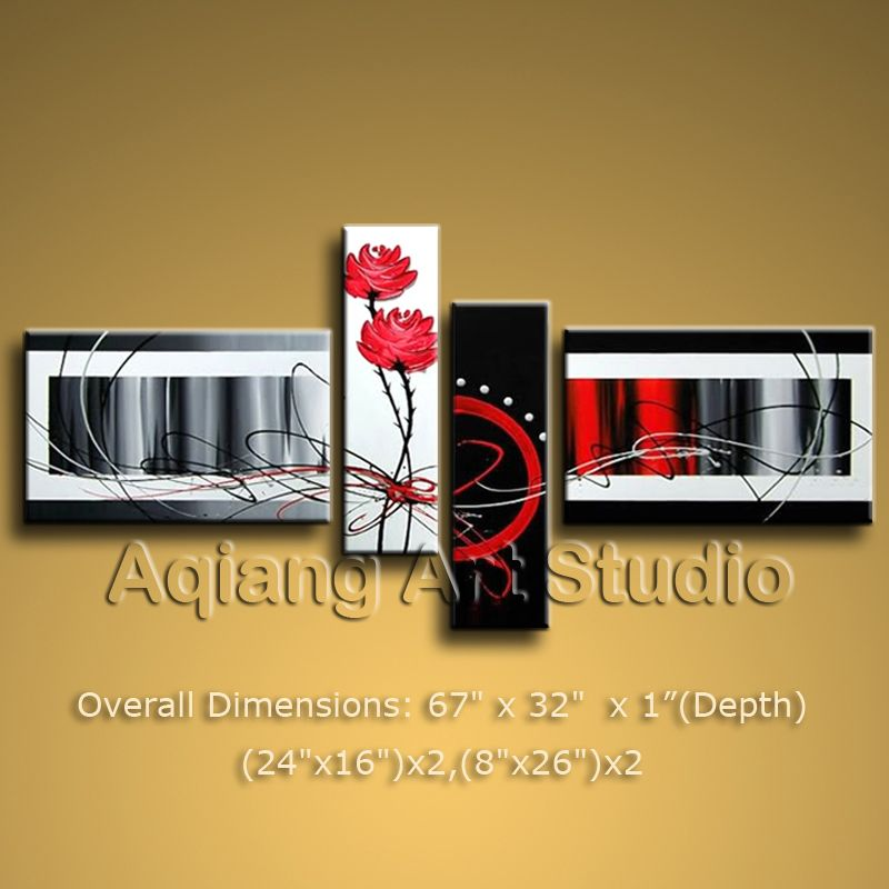 Large Modern Abstract Oil Painting Red Rose Contemporary Wall Art ...