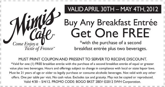 photo regarding Mimi's Coupons Printable named BOGO breakfast entrees at Mimis Restaurant! #coupon CheckPoints