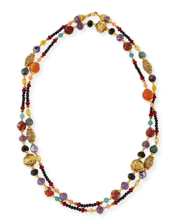 Jose & Maria Barrera Long Black & Golden Beaded Necklace UrKKlynBv6