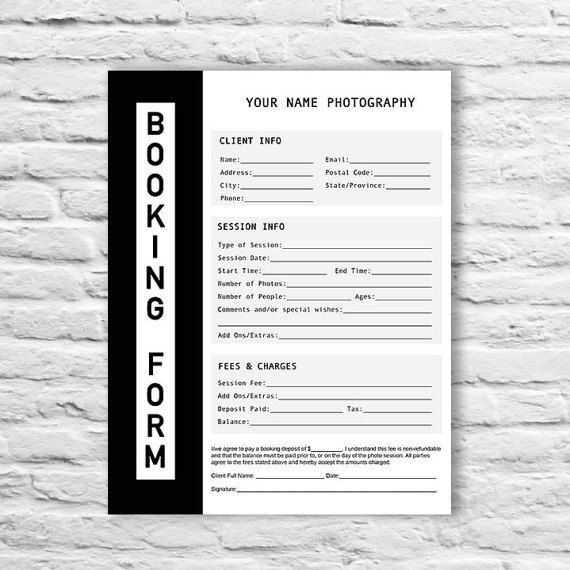 Booking Form  Photography Contract Form  Session Booking Form