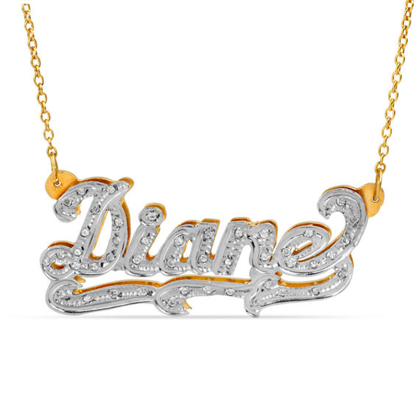 1 10 Ct T W Diamond And Textured Scroll Name Necklace In 10k Gold With White Rhodium 1 Line Diamond Cross Necklaces Gold Name Necklace Silver