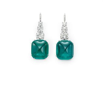 A PAIR OF EMERALD AND DIAMOND EAR PENDANTS  Each suspending a sugarloaf cabochon emerald, weighing approximately 21.78 and 23.65 carats, from a graduated line of three modified cushion-cut diamonds, to the circular-cut diamond French wire, mounted in platinum