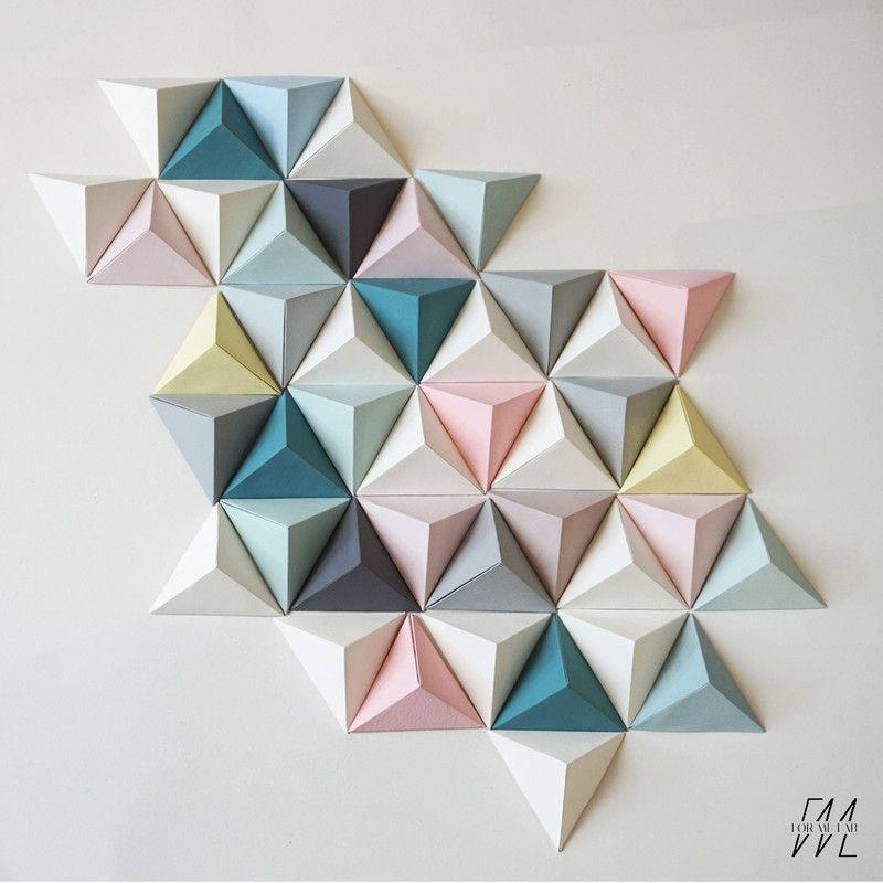 cc fait des siennes fresque triangles origami bureau. Black Bedroom Furniture Sets. Home Design Ideas