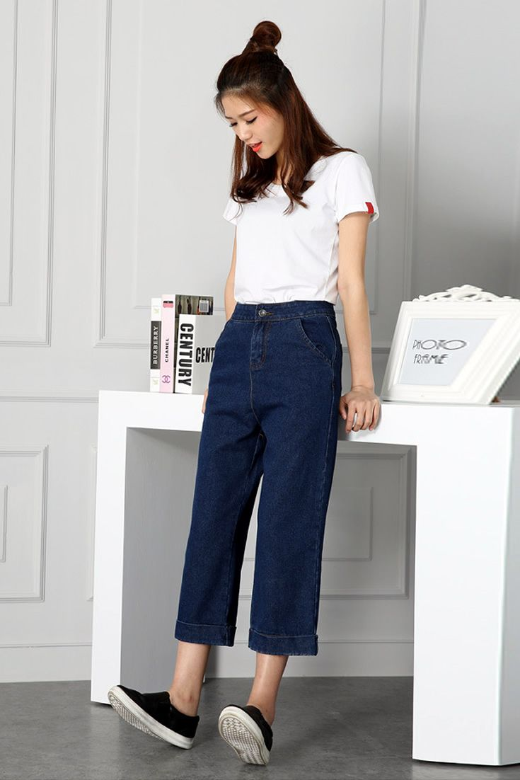 Navy Straight Cut Jeans South Korea Airport Fashion Kpop