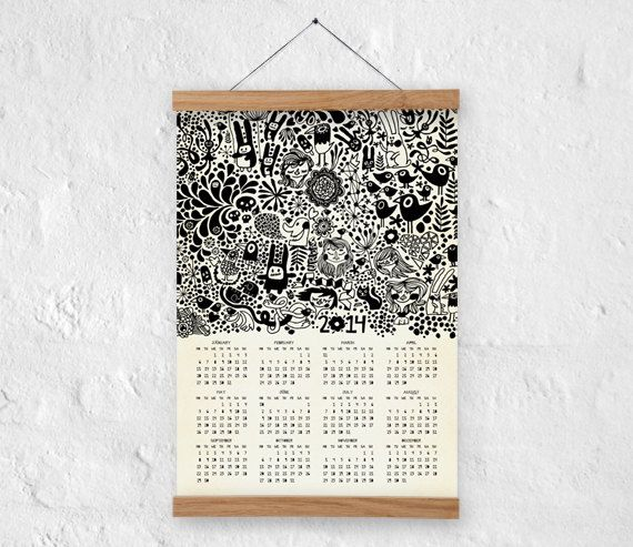 Wall calendar 2014 - A3 size - 100% recycled paper/ eco friendly home decor on Etsy, $2,234.04