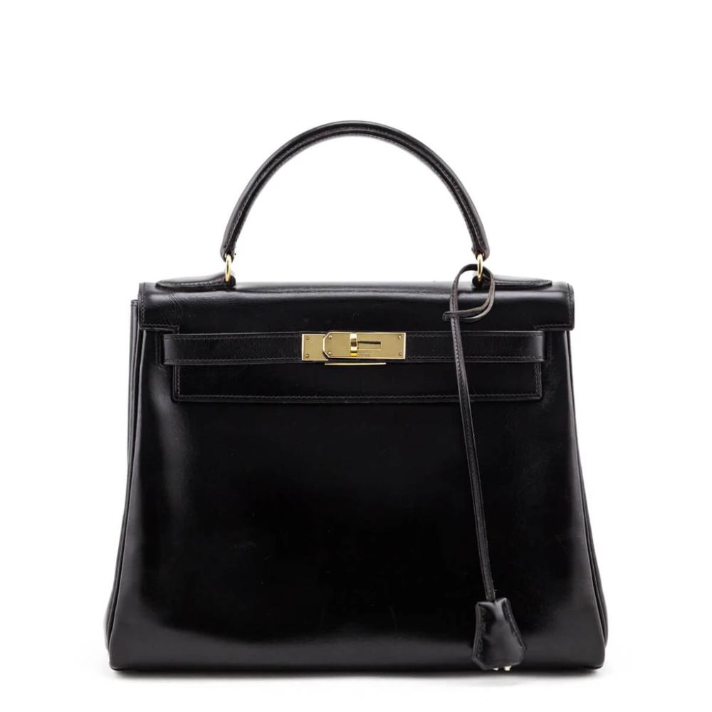 Hermes Noir Box Calf Vintage Kelly Retourne 28 Ghw In 2020 With Images Vintage Kelly Calves Bags Designer