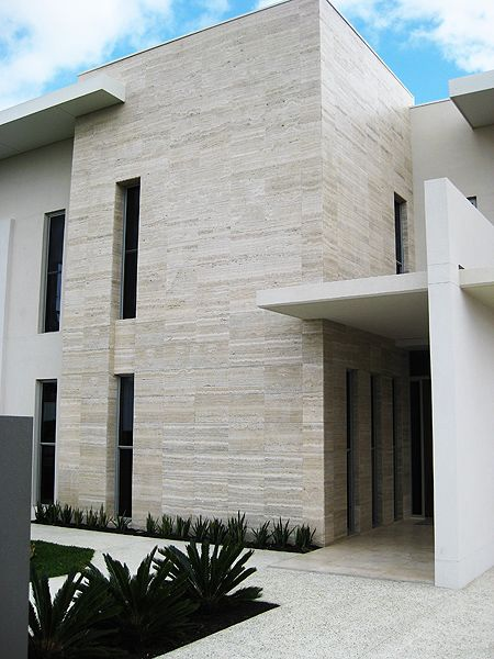 Travertine stone wall architecture stone exterior - Exterior wall materials philippines ...