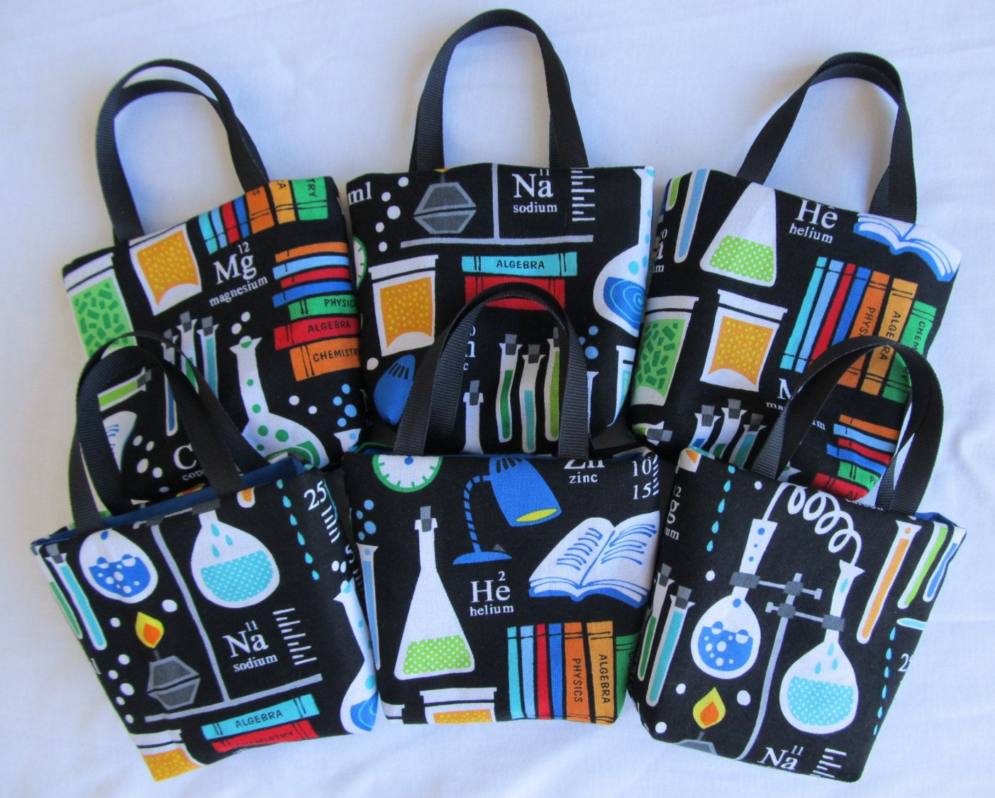 Chemistry Science Fabric Gift Bag Custom Fabric Design by ZinniasCloset Girl Scientists