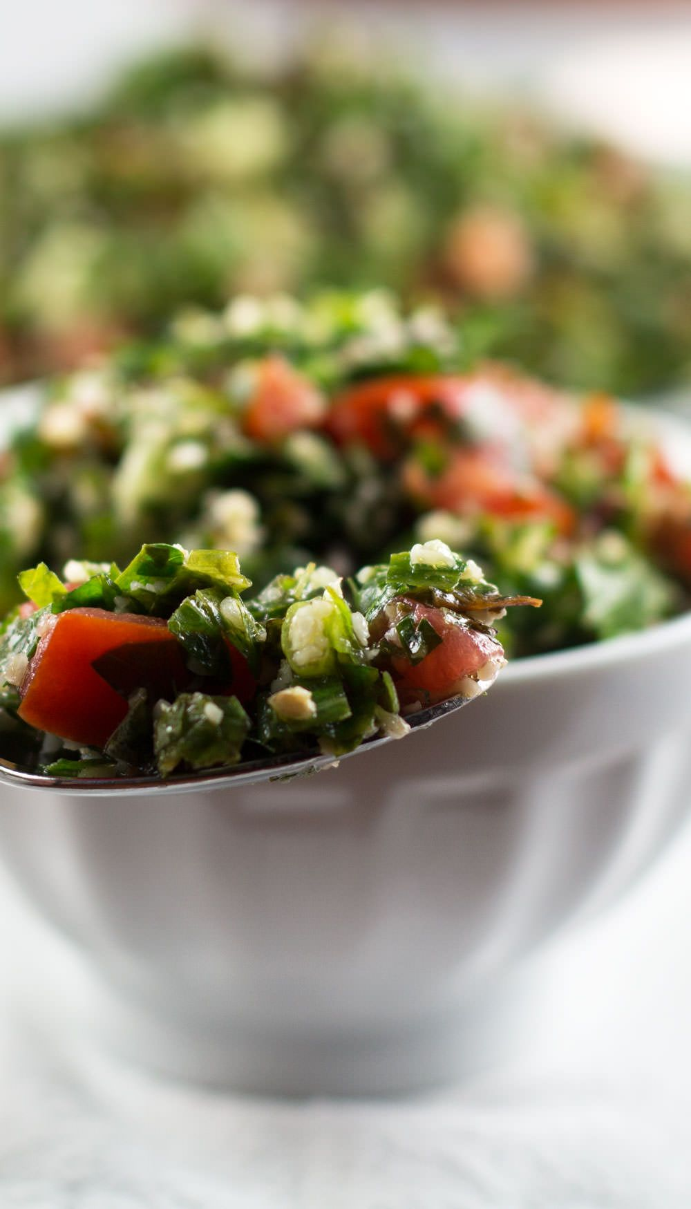 Not Quite Traditional Tabouli - A Middle Eastern Salad perfect for using end-of-summer herbs and tomatoes. From Mother Would Know