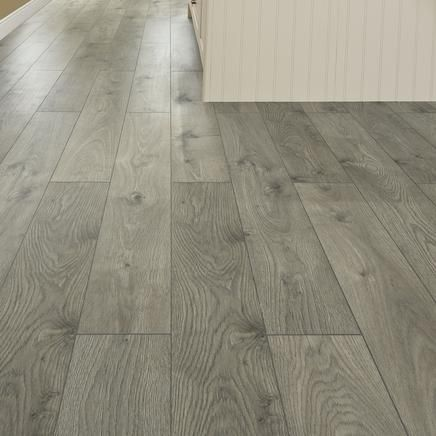 Professional V Groove Dark Grey Oak Laminate Flooring Is A Premium With Textured And Embossed Finish