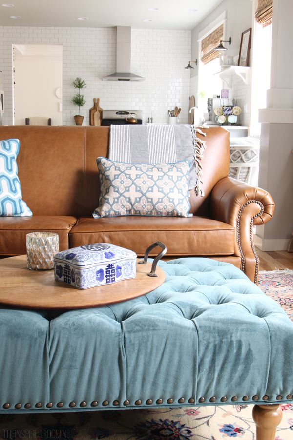 February House Fluffing Leather Copper Wood White Interiors Ottomans And Family Rooms