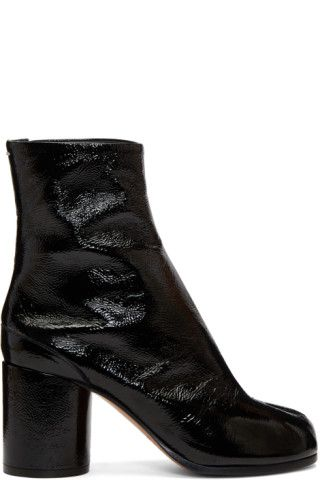 0d2d7baa39d Ankle-high patent leather boots in black. 'Cracked' texture ...