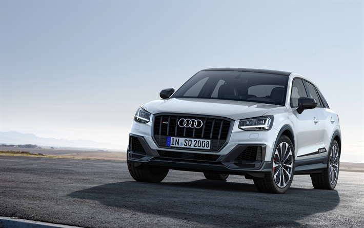 Download wallpapers Audi SQ2, 2019, front view, exterior, new white