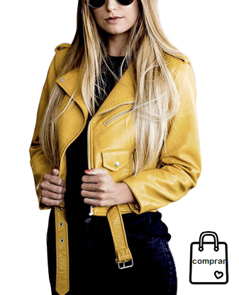 08e326707cb3b Chaqueta de cuero amarilla  chaquetasdecuero  chaquetasmujer  cuero  moda   mujer  cazadoras
