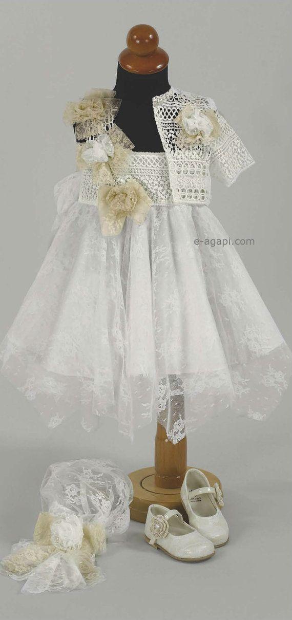 714a305f926de 3pc Couture Baby girl baptism dress SET Greek Christening dress ...