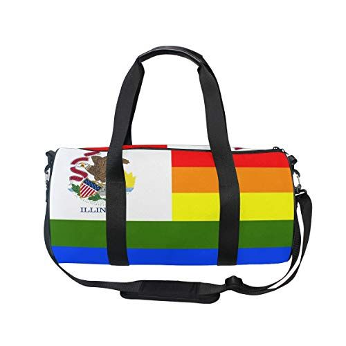 6aa6638fcc MUOOUM Rainbow Flag Illinois Sports Gym Bag Travel Duffel Bag for Women and  Men Luggage Handbag   Continue to the product at the image link.