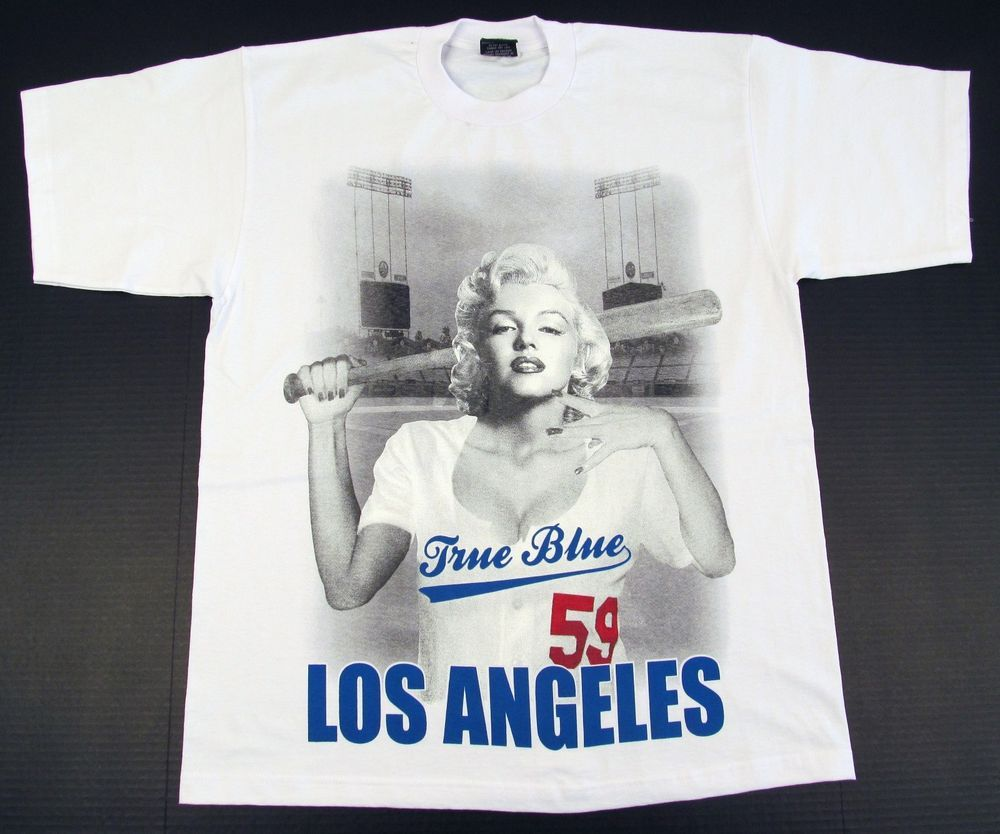 a2b6a0140 MARILYN MONROE T-shirt LA Los Angeles DODGERS Streetwear Tee Adult XL-4XL  White