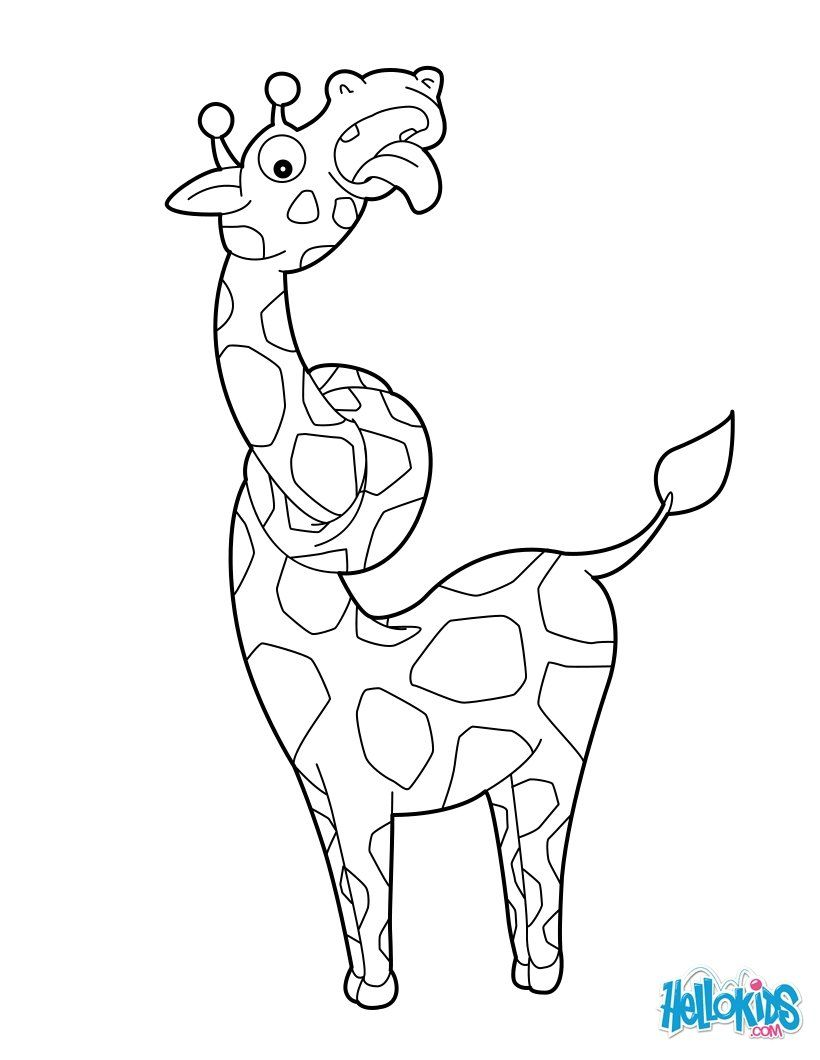 Beautiful Giraffe Entanglement coloring page for kids of all ages ...