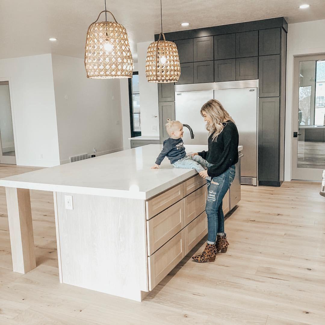 Ourdailytribe modern farmhouse kitchen white oak island sherwin williams iron ore shaker cabinets dunn edwards white walls in milk glass
