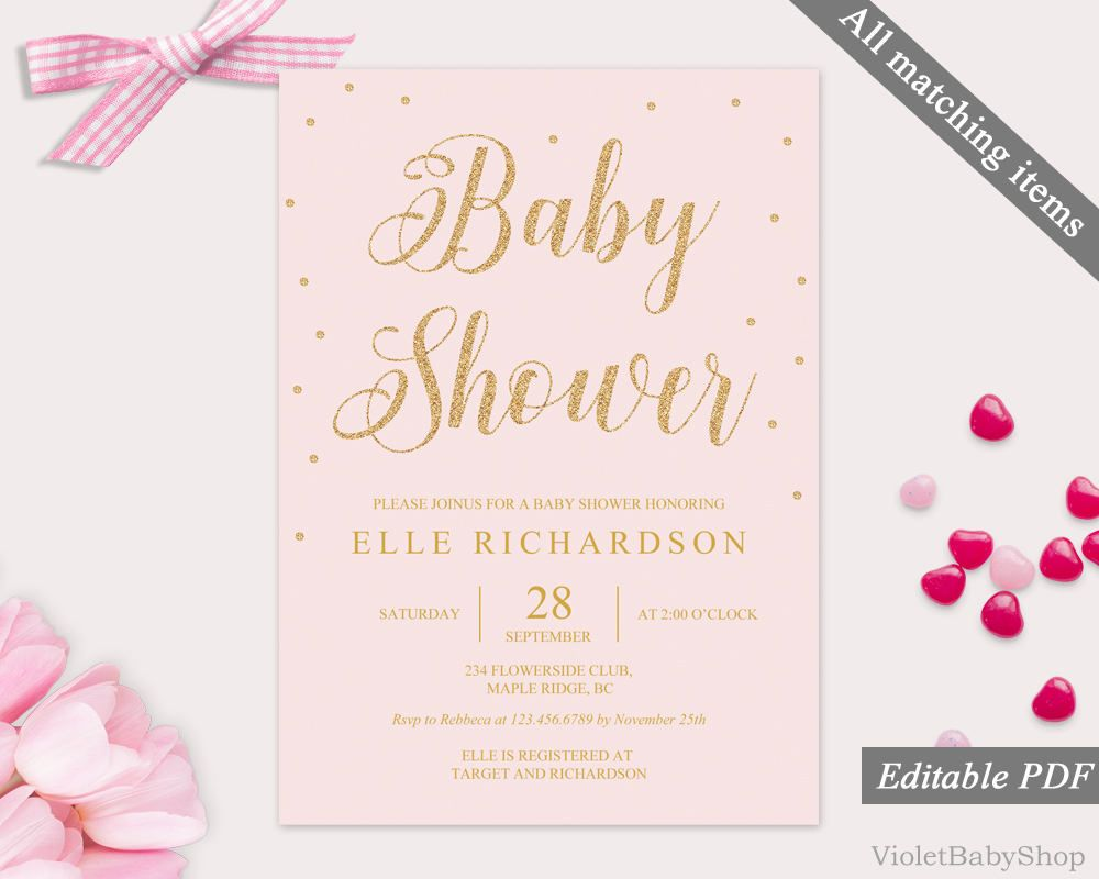 Blush And Gold Baby Shower Invitation Template Printable Baby