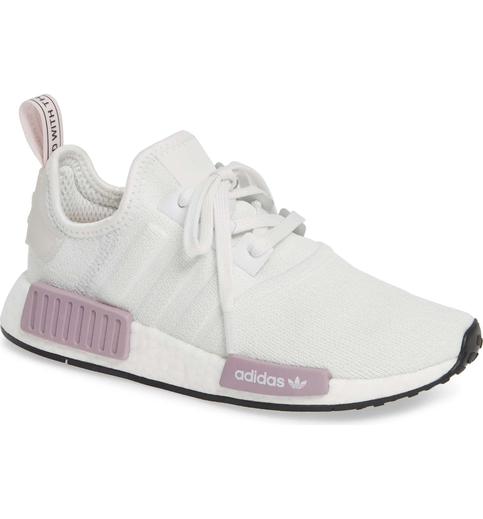 NMD R1 Athletic Shoe, Main, color, CRYSTAL WHITE/ ORCHID