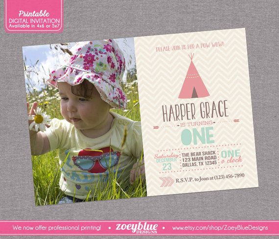Indian Invitation Girl Birthday Invitation Tribal Aztez Arrow - First birthday invitations girl india