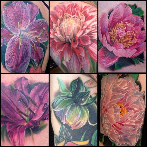nothindoin: Here's a collection of peony, dahlia, and lillies I enjoyed doing #flashbackfriday - @philgarcia_inkphillertattoos- #webstagram