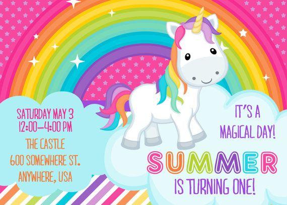 Rainbow Unicorn Invitation Invite Kids Birthday Girl
