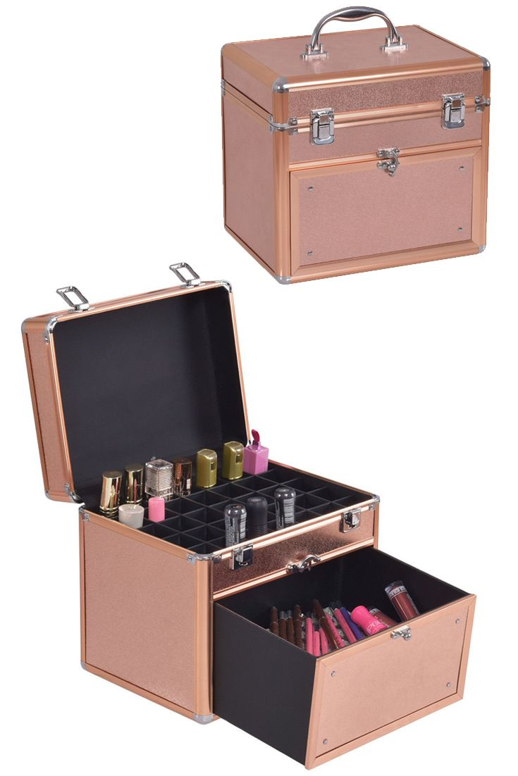 Nail Polish Organizer Makeup Case Cosmetic Storage Box Portable ...